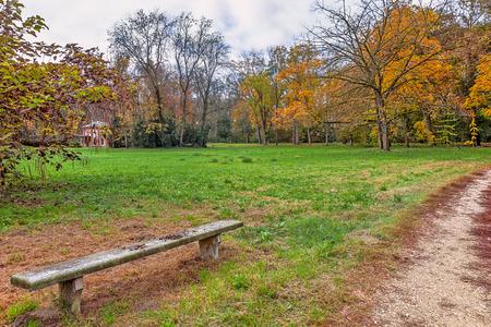 racconigi: Stone bench and narrow pathway in autumnal park of Racconigi, Italy.