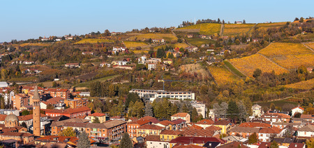 Small town and colorful autumnal vineyards on background in Piedmont, Northern Italy. photo