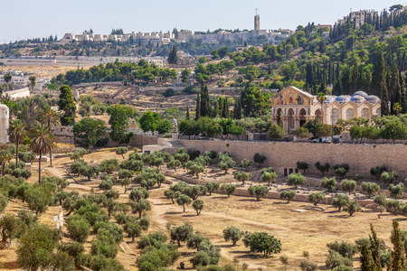 View of olives trees, old cemetery and Church of All Nations in Jerusalem, Israel. photo