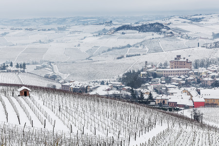 vineyard: mall town of Barolo and vineyards on hills covered with snow in Piedmont, Northern Italy. Stock Photo