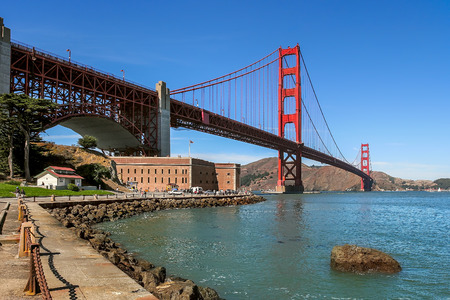 historic site: Famous Golden Gate Bridge and Fort Point in San Francisco, USA.
