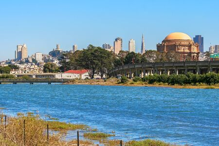 fine arts: View of San Francisco downtown and Palace of Fine Arts.