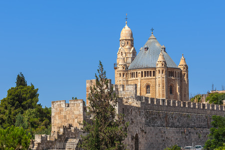 church bells: Abbey of Dormition and ancient walls in Old City of Jerusalem Israel. Stock Photo