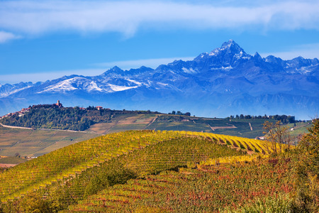 italy landscape: Autumnal hills with vineyards and mountains on background in Piedmont, Northern Italy. Stock Photo