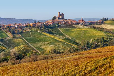 Yellow autumnal vineyards and small town on the hill in Piedmont, Northern Italy.