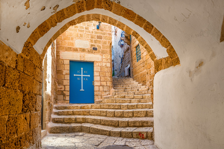 yafo: Vault passage, small church and stone stair in old city of Jaffa in Israel.