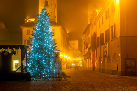 christmas trees: Illuminated Christmas tree on town square on foggy evening in Alba, Piedmont, Northern Italy.