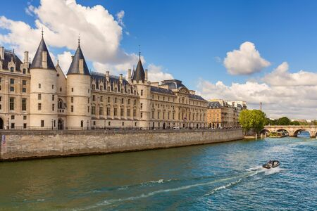 part prison: View of Conciergerie - former prison and part of former royal palace on the bank of Seine river in Paris, France.