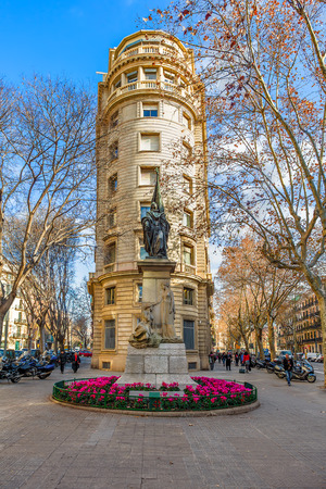 BARCELONA, SPAIN - JANUARY 13, 2015: Bronze statue by artist Rossend Nobas of Rafael Casanova - mayor of Barcelona, commander in chief of Catalonia, councillor and Catalan jurist.