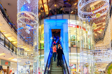 palladium: PRAGUE, CZECH REPUBLIC - DECEMBER 10, 2015: Interior view of Palladium mall decorated for Christmas holidays - one of the biggest centers in Prague, popular shopping destination with 5 floors, 184 shops and 23 restaurants. Editorial