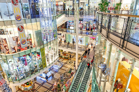 czech: PRAGUE, CZECH REPUBLIC - DECEMBER 10, 2015: Interior view of Palladium mall decorated for Christmas holidays - one of the biggest centers in Prague, popular shopping destination with locals and tourists, contains 5 floors, 184 shops and 23 restaurants.