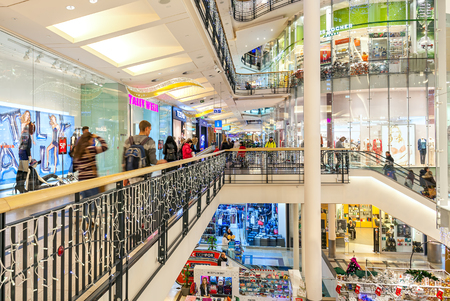 czech: PRAGUE, CZECH REPUBLIC - DECEMBER 10, 2015: Interior view of Palladium shopping center decorated for Christmas holidays - one of the most popular shopping destination in Prague, has 5 floors, 184 shops and 23 restaurants. Editorial