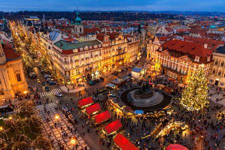 PRAGUE, CZECH REPUBLIC - DECEMBER 10, 2015: View from above on traditional Christmas market at Old Town Square illuminated and decorated for holidays in Prague  -  popular tourist destination, capital of Czech Republic and fifth most visited European city 에디토리얼