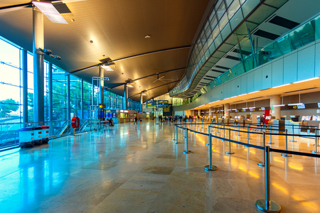 VALENCIA, SPAIN - JANUARY 14, 2014: Interior view of departures and check in area in Valencia airport - situated 8 km from the city it is 8th busiest Spanish airport with flight connections to 15 European countries. Editorial