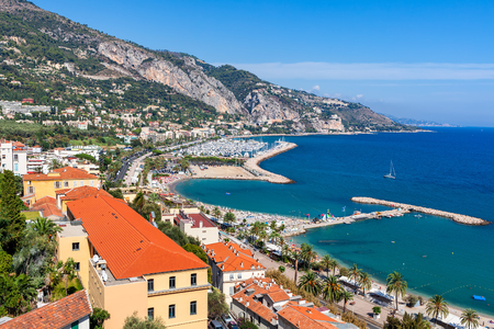 menton: View of Menton shoreline at sunny day on French Riviera.