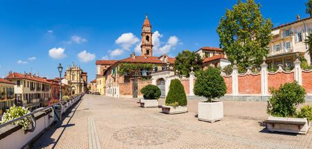 Cobblestone promenade in old town of Bra in Piedmont, Northern Italy (panorama). Stock Photo
