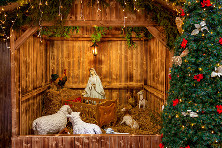 Nativity scene exposed in Old Town of Prague, Czech Republic in anticipation of Christmas.