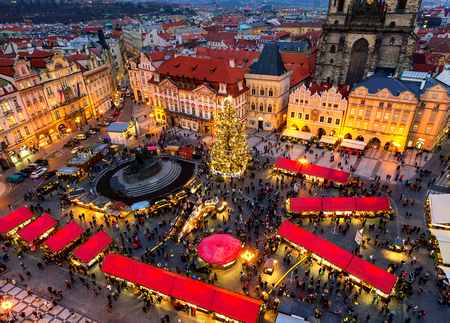 PRAGUE, CZECH REPUBLIC - DECEMBER 10, 2015: View from above on traditional Christmas market at Old Town Square illuminated and decorated for winter holidays in Prague - capital of Czech Republic. Redakční