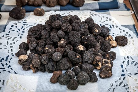 View of famous black truffles on the white napkin in Alba, Italy.