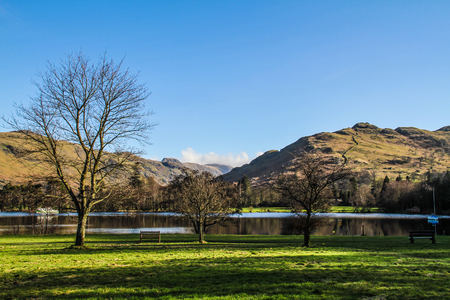 cumbria: Mountains over the Brathay bay in Ambelside, CUmbria