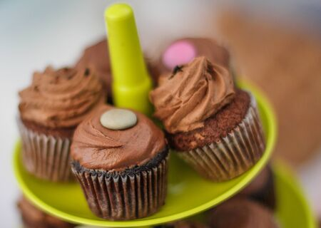 Few chocolate cupcakes on the green plate