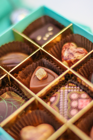 selection of chocolates in the box Stock Photo