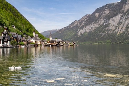 Scenic view of the famous Hallstatt lake Stock Photo