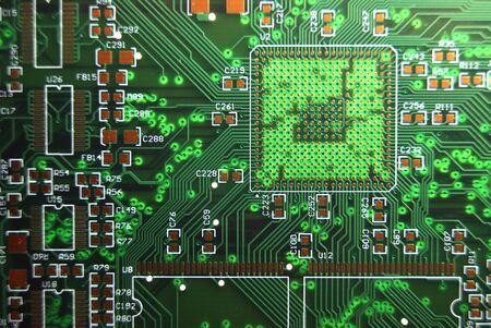 printed circuit: Printed circuit board green electronic background