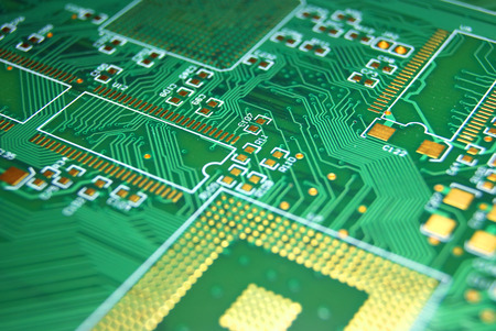 printed: Printed circuit board green electronic background
