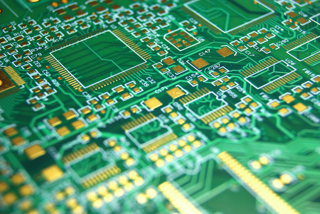 microprocessors: Printed circuit board green electronic background