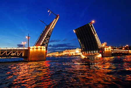 moveable: Lifted Palace bridge Saint-Petersburg night view Stock Photo