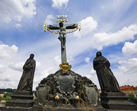 Calvary sculpture on the Charles Bridge in Prague