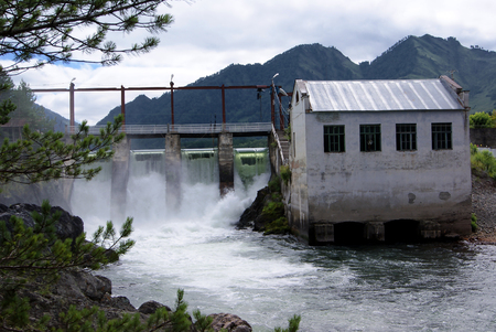 hydro power: Old hydro power station on the mountain river