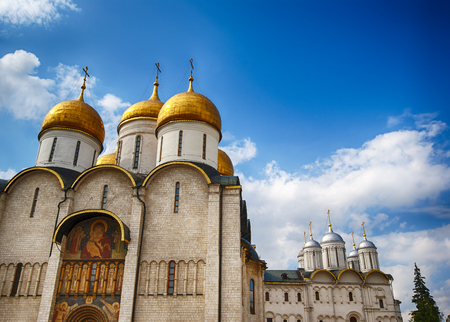 sobor: Facade of Uspensky cathedral in Moscow Kremlin ancient orthodox church of Russia