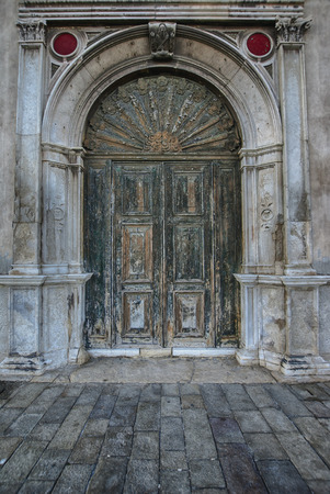 Old antique wooden door vintage portal doorway Stock Photo