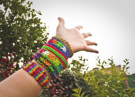 loom: Colorful rainbow loom rubber bands bracelet