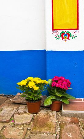 flowerpots: Old painted house with flowerpots