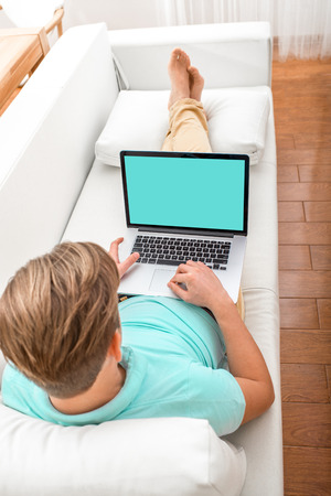 Handsome man working with laptop laying on the couch at home. Empty display for your screenshot photo