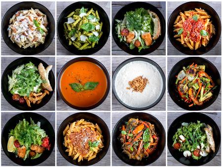 Italiaans eten collage met pasta, salades en soepen. Bovenaanzicht