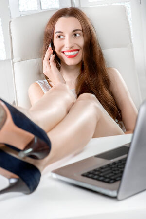 Sexy legs in the office