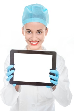 Doctor holding digital tablet with empty screen on white background photo