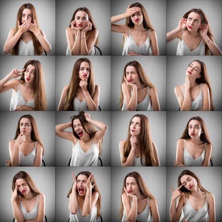 expresiones faciales: Collage de hermosa mujer con diferentes expresiones faciales tristes sobre fondo gris Foto de archivo
