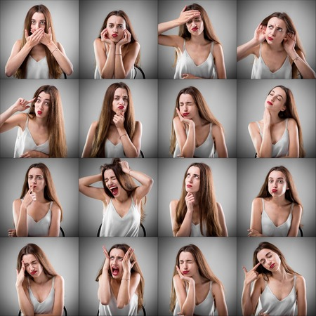 expressing: Collage of beautiful woman with different sad facial expressions on grey background
