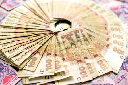 hryvna: Pile of ukrainian money, hundred and two hundred banknots Stock Photo