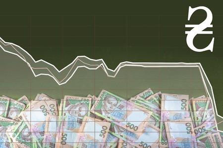 hryvna: Pile of ukrainian money with exchange rate schedule on black background