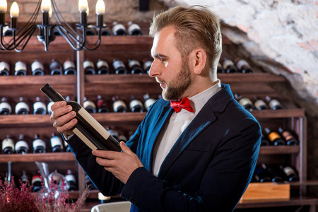 sommelier: Sommelier with wine bottle in the wine cellar Stock Photo