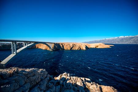 Pags islands with bridge panorama view in Croatia photo