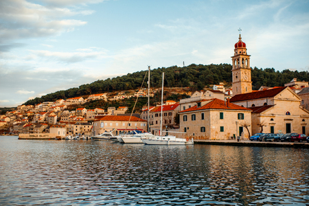 brac: View on city Bol from the sea on Brac island, Croatia