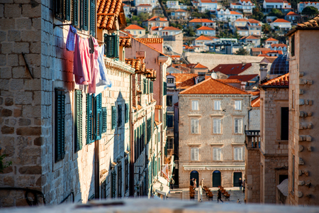 old  buildings: Top view at old buildings in Dubrovnik city Stock Photo