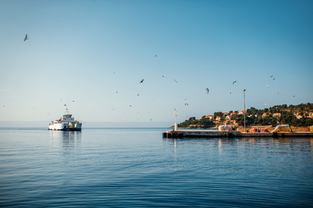 Ferry near the coast of Brac island in Croatia